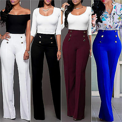 Womens Plain Palazzo Wide Leg Flared Pants Plus Size High Waisted Loose Trousers