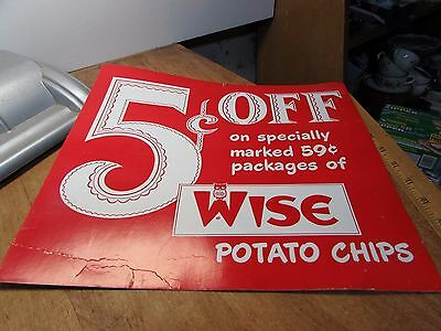 Cool Vintage Wise Potato Chips Cardboard Grocery Store Advertising Sign