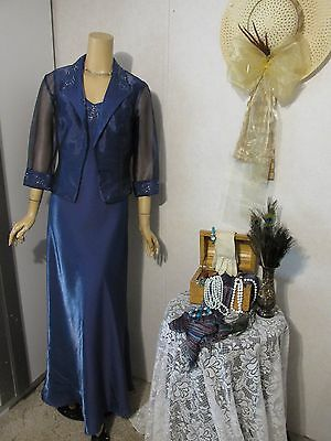 Mother Of The Bride Dress/Jacket Set by Alex Evenings-Size 12-Slate Blue/Beaded