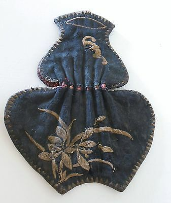 Rare Antique Chinese Embroidered Fine Silk Qing Dynasty Scent Pouch Bat Purse
