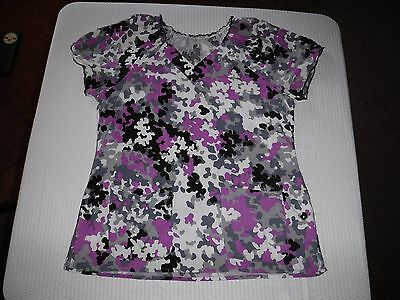 Grey's Anatomy by Barco Purple Gray and White Patterned XL Scrub Top