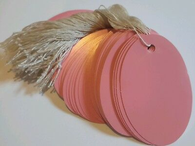"""100 1 1/2 x 1 """" Pink  small oval print price tags with string"""