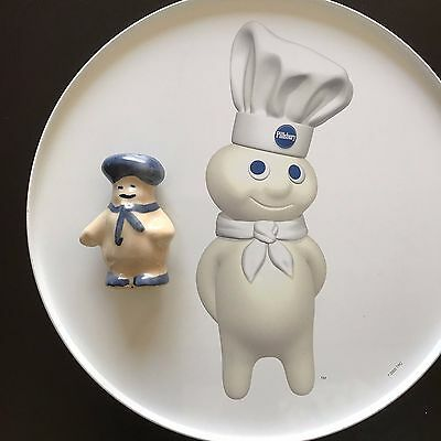 Pillsbury DoughBoy Puzzle with Round Collectible Tin & Mini  Pottery Figurine