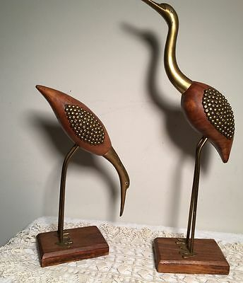 Lot of 2 Vintage Carved Brass Wood Crane/Heron/Egret Bird Art Sculpture India