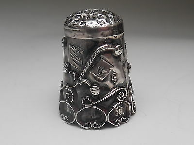 Antique Taxco Sterling Silver Scroll Work Intricate Detailed Thimble