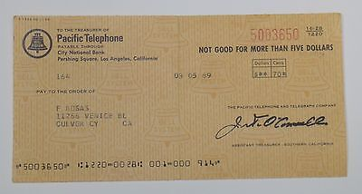 Vintage Pacific Telephone Calif Paper Refund Check + Receipt 3/1969 Good Cond