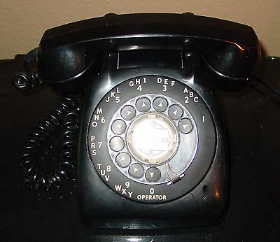 VINTAGE 1950s BLACK ROTARY AUTOMATIC ELECTRIC DESK PHONE UNTESTED