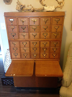 30 Drawer Wood Library Card Catalog Cabinet