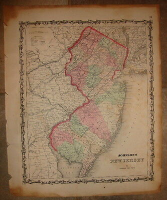 1863 ORIGINAL, NEW JERSEY, Hand Colored, large, Johnson antique map