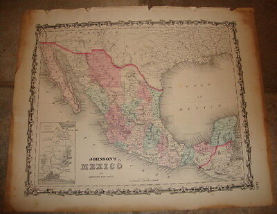 1863 ORIGINAL, MEXICO, Hand Colored, large, Johnson antique map