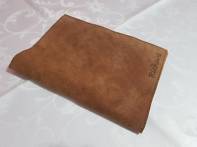 Personalised Rustic Genuine Leather Notebook Cover - HANDMADE A5 + Cards Holder