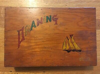 Vintage Wood Drawing / Art Box Divided Wooden Supply Case with Sailboat Rustic