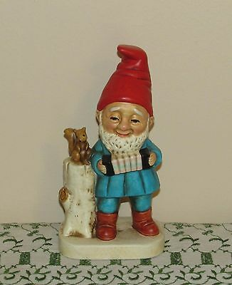 Vtg Homco Gnome Playing Accordian Figurine Excellent!