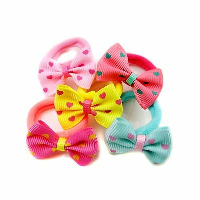 10pcs Printing Children Sweet Dot Ponytail Holder Hair Tie Rope Bow-knot