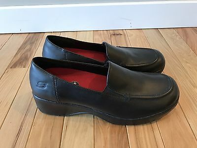 Skechers Work Black Leather Crescent Slip Resistant Loafers Shoes 76409 Women 10
