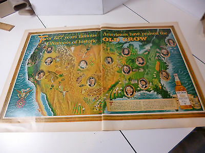 Original 1963 Old Crow Famous Americans 2 page Color Print ad