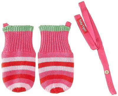 (TG. S) Toby Tiger - Pink And Green Stripe Knitted Mittens, Guanti da bambine e