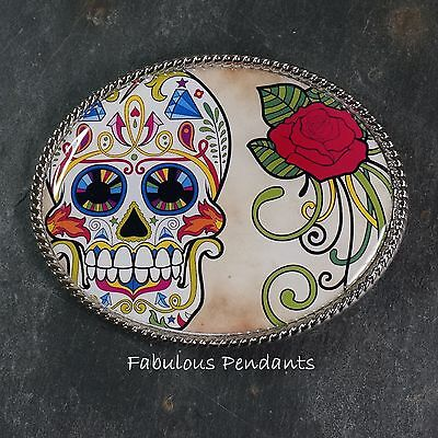 Handmade Belt Buckle Skull And Red Rose Sugar Skull Mexican