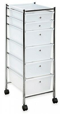 6-Drawer Plastic Rolling Storage Cart in Chrome/Clear