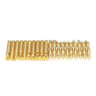 20Pcs 2mm Gold Banana Connector Plug With Heat Shrinkable Tube For Motor