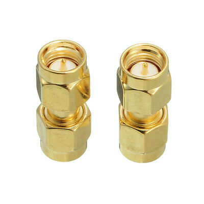 Excellway CA01 2Pcs Copper SMA Male To SMA Male Plug RF Coaxial Adapter Connecto