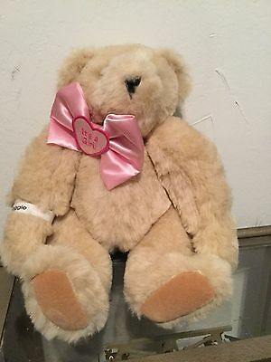 """15"""" Vermont Jointed Teddy Bear It's A Girl Baby Pink Bow"""