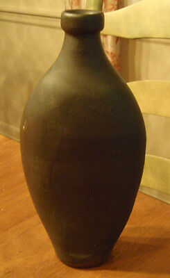 antique pint sized 8 3/4 stoneware flask GREAT LINES dark glaze attractive OLD