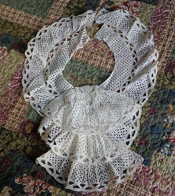 BEAUTIFUL Antique Lace Collar Jabot Ruffle Open Lace Victorian Edwardian theater