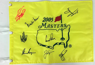 US Masters Champions Signed Golf Flag w/ Big 3, Palmer, Nicklaus, Player, PSA
