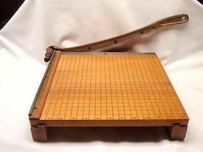 """Vintage 12"""" Ingento No. 4 Guillotine Maple Wood Paper Cutter - Nice!"""