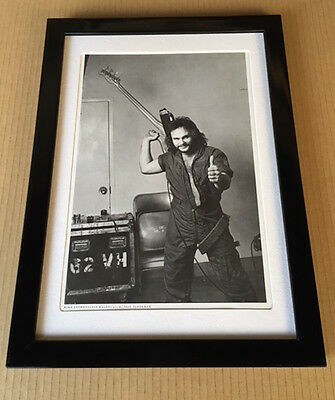 1982 Michael Anthony w/bass Van Halen JAPAN mag photo pinup mini poster FRAMED