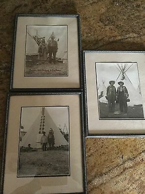 1930's Black & White Native Indian Photos, Wild West Rodeo Show Originals Framed