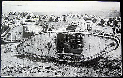 WWI  Flock of English Tanks with AMERICAN TROOPS France