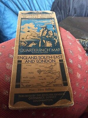 vintage os map london and south east sheet 12 cloth 1935