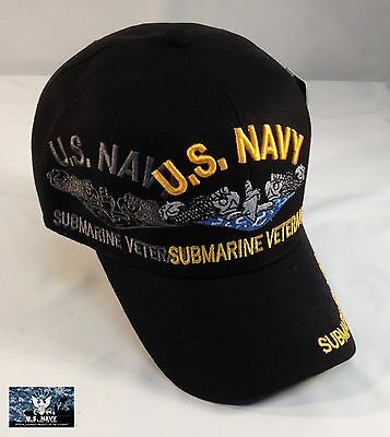 1182a16f108de US Navy Submarine Service Veteran Ball Cap Sub Force Hat Shadow BLACK -  QUALITY!