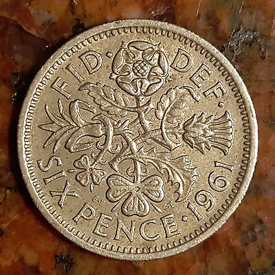 UK (Great Britain) 1961 Six Pence (Wedding Good Luck Coin)   -  531