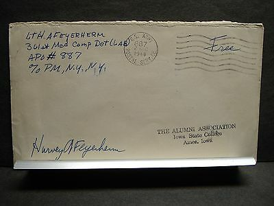 APO 887 PARIS, FRANCE 1944 Censored WWII Army Cover 361st Med Comp Det (LAB)