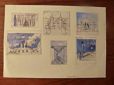Julian Gordon Mitchell - Contemporary ink study of stage settings