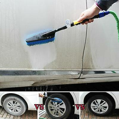 Durable Car Wash Cleaning Brush Auto Retractable Long Handle Water Flow Switch