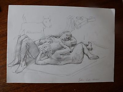 Julian Gordon Mitchell - Contemporary Graphite Drawing, reclining couple
