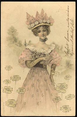 *Vintage Art Deco Glamour UB PPC 1904 - The Girl With the Four Leaf Clovers