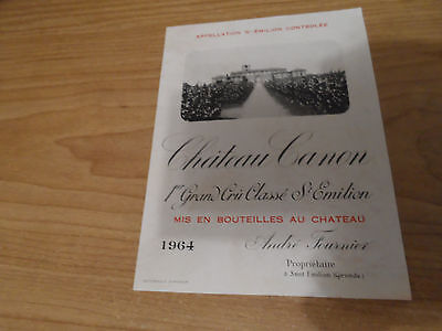 1964 CHATEAU CANON 1er Grand Cru Classe Saint Emilion ORIGINAL French wine Label