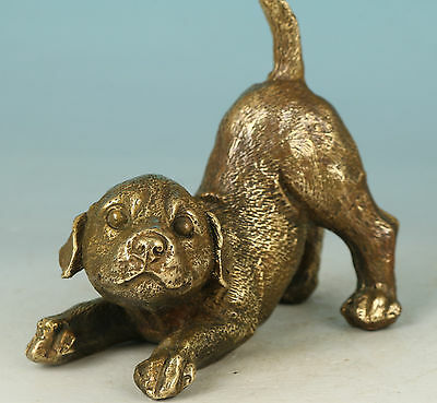 chinese Collect Bronze Hand Carving Dog Statue Figure