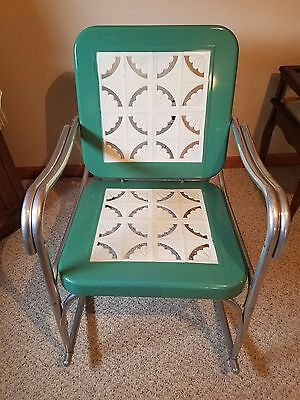 TWO RARE Vintage Mid Century 50s ORIGINAL Metal Rocker Lawn Chairs, BUNTING CO.