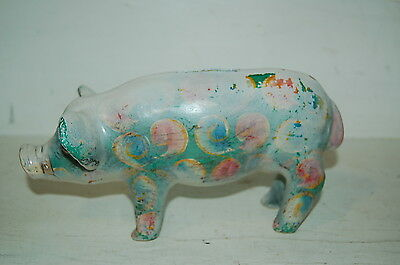Very Old Vintage/Antique Painted and Repainted Cast Iron Piggy Bank