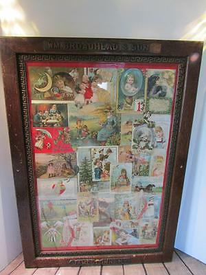 Antique WM Broadhead & Son Jamestown NY Lg Wood Frame w/ Antique Greeting Cards