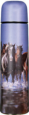 """""""rush Hour"""" Horses Stainless Steel 34 Oz Vacuum Bottle Thermos Outdoor Barn"""