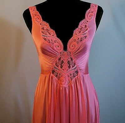 VTG Pink OLGA Classic FULL Sweep Nightgown Negligee Gown 92270 M LG