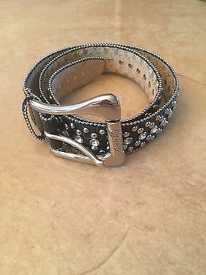 Guess Black Silver Studded & Rhinestone Genuine Leather Buckle Belt Size M
