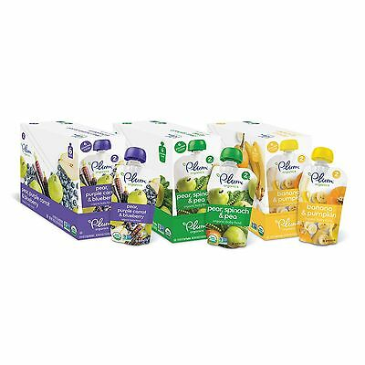 Plum Organic Stage 2 Organic Baby Food Fruit and Veggie Variety Pack 4oz 12 Pack